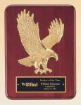 Rosewood Piano Finish Plaque with Gold Eagle Casting Corporate Plaques