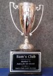 Silver Metal Cup Trophies on Black Marble Wood Base Quick Turnaround
